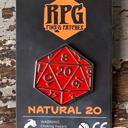 d20 Natural 20 Pin Carded