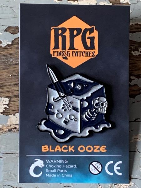 Black Ooze Gelatinous Cube Enamel Pin Carded