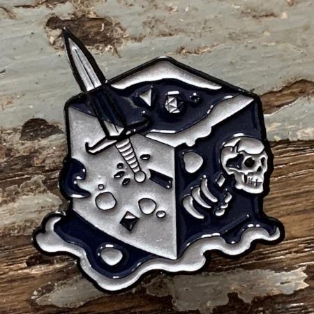 Black Ooze Gelatinous Cube Enamel Pin