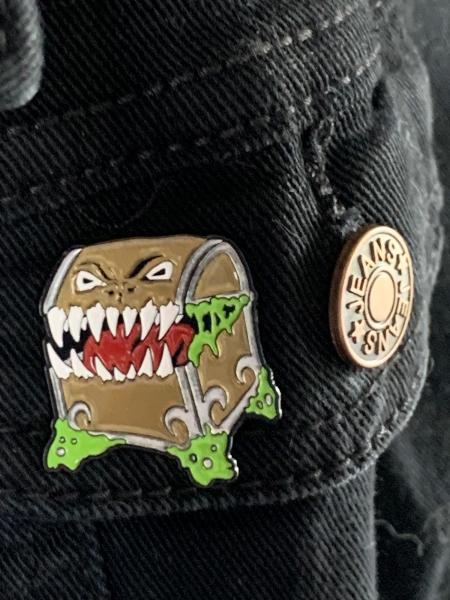 Mimic Enamel Pin in Classic Gold on Jacket