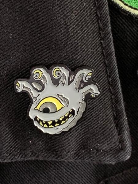 Undead Eyegor Enamel Pin on Jacket