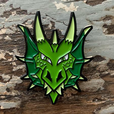 Green Dragon Head Enamel Pin